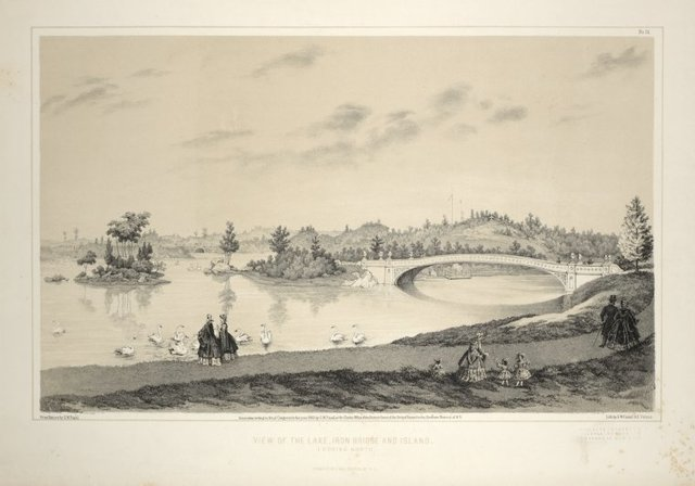 View of the lake, iron bridge and island. From Central Park Album, 1862