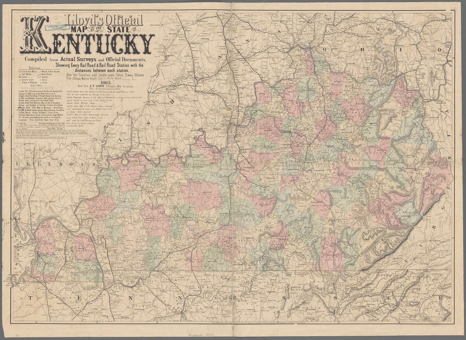 Lloyd's official map of the state of Kentucky : compiled from actual surveys and official documents, showing every rail road & rail road station with the distances between each station