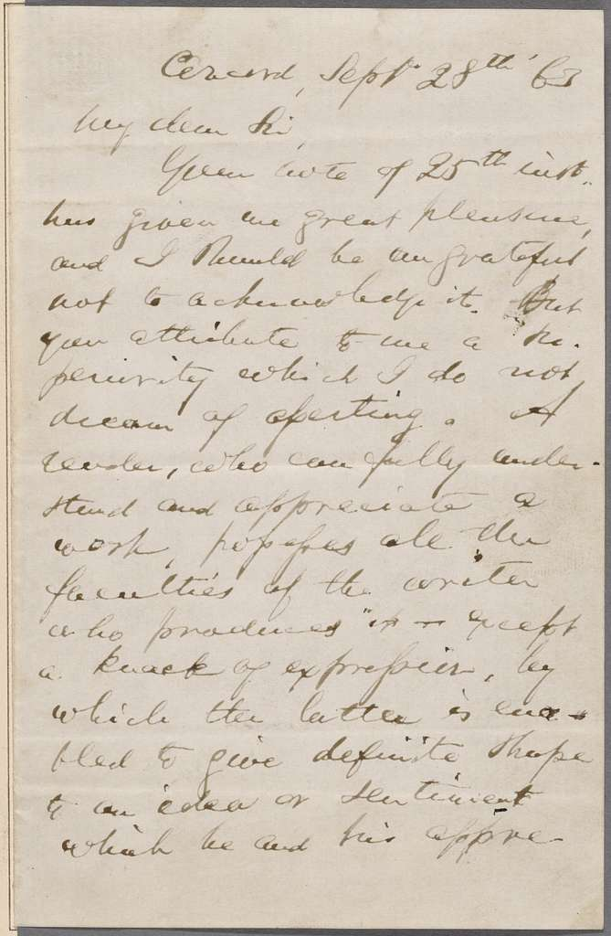 Poney, Robert J., ALS to. Sep. 28, 1863. [Previously Robert I. Powy (?)].