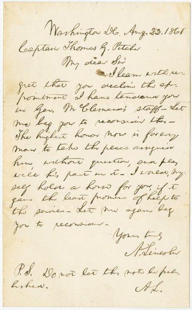 A.L.S. to Captain Thomas G. Pitcher