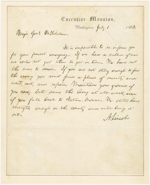 A.L.S. to Major General McClellan