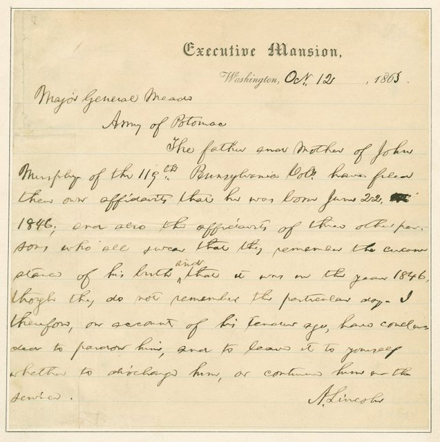 A.L.S. to Major General Meade regarding pardon for John Murphy because of his age