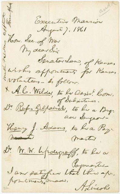 A.L.S. to the Honorable Secretary of War, requesting appointment of four officers to Kansas Volunteers