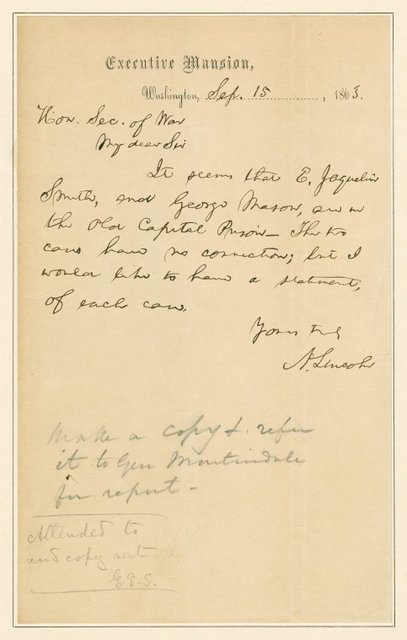 A.L.S. to the Secretary of War requesting statement regarding two men in Capitol Prison