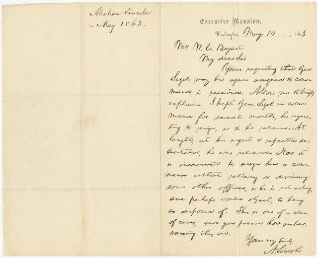 A.L.S. to William Cullen Bryant