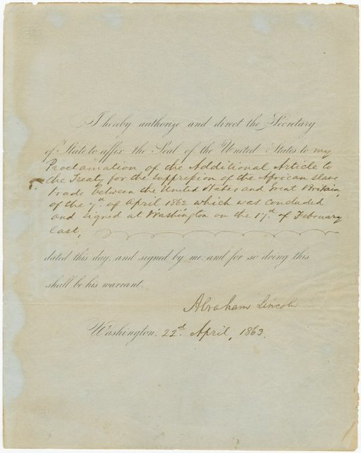 """Authorization to Secretary of State to affix seal to """"my proclamation of the additional article for the suppression of the African slave trade between the United States and Great Britain..."""
