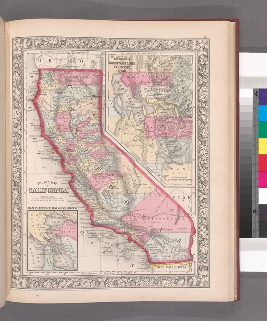 County map California; Map of the settlements in the Great Salt Lake country, Utah [inset] ; San Francisco Bay and vicinity [inset].