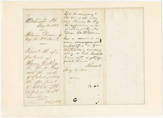 Endorsed reply by Lincoln on A.L.S., Aug 16, 1861, from Major General George B. McClellan.