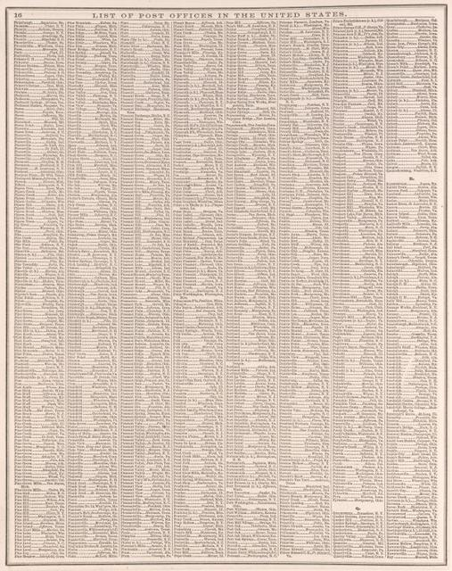 List of Post Offices in the United States. [P, Q, R]