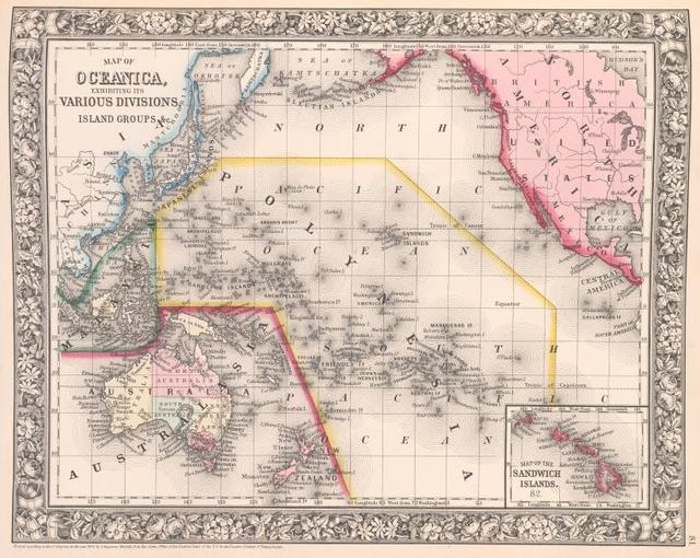 Map of Oceanica, exhibiting its various divisions, island groups, &c. ; Map of Sandwich Islands [inset].