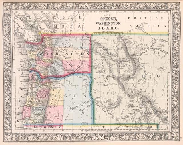 Map of Oregon, Washington and part of Idaho.