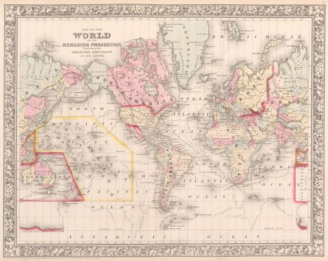 Map of the world on the mercator projection. Exibiting the American continent as its centre.