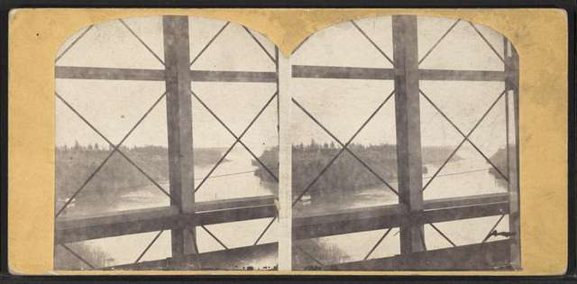 Niagara Suspension Bridge. [View of the river from bridge interior.]