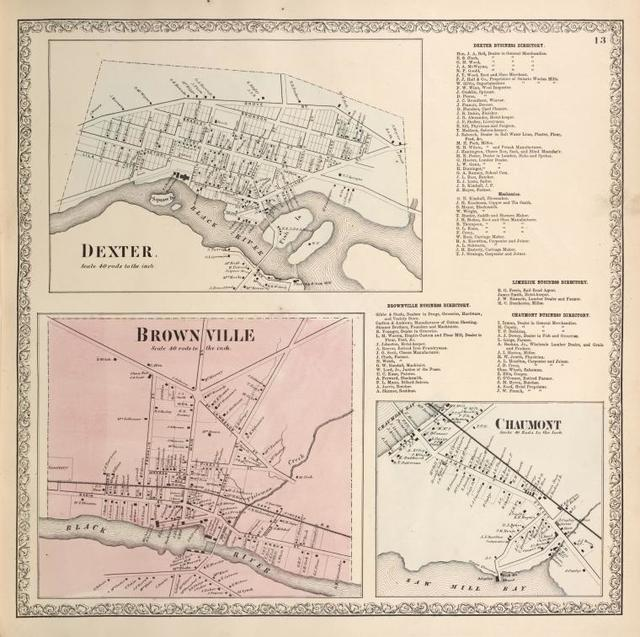 Dexter. [Village]; Dexter Business Directory. ; Limerick Business Directory. ; Chaumont Business Directory. ; Brownville [Village]; Brownville Business Directory. ; Chaumont [Village]