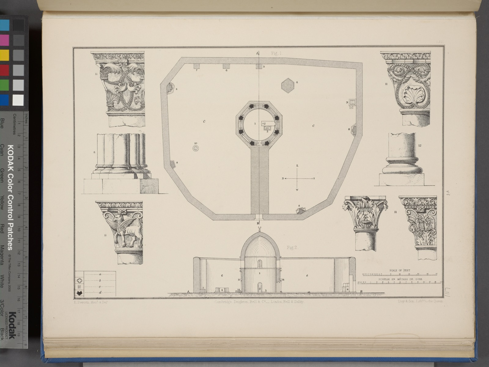 Plan and section of mosque situated on the Mount of Olives, and details of five capitals.