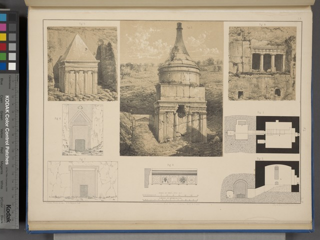Plan and section of S. Pelagias's tomb on the Mount of Olives; Details of sepulchres in the Valley of Jehoshaphat, and of some others in the neighbourhood of Jerusalem.