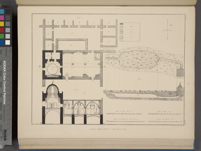 Plan and section of the Coenaculum; the so-called Tomb of David; and of the underground works of Mount Sion.