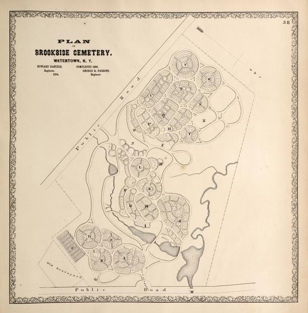 Plan of Brookside Cemetery, Watertown, N.Y. Howard Daniels, Engieer. Completed 1864, George R. Parsons, Engineer.
