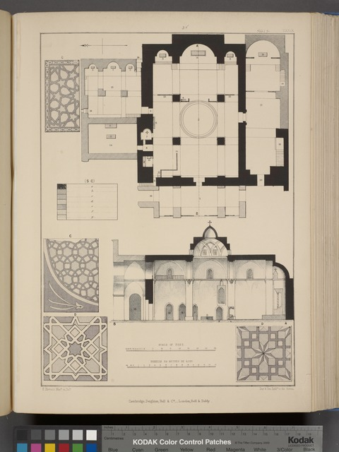 Plans and sections of the Armenian Church of S. James, and mosaics.
