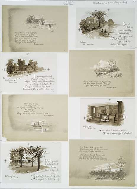 Birth place [of John Greenleaf Whittier] near Haverhill, Mass; The Old School house, Haverhill, Mass.; The Poet's Study at Amesbury, Mass.; The Whittier House, Amesbury, Mass. [Depictions of Whittier's home, interior and exterior, surrounding landscape, and sea, with sailboat.]