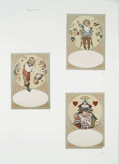 Birthday, Christmas, and Valentine cards depicting characters from nursery rhymes : Queen of Hearts, Little Johnny Horner, girl with leaves and shells.