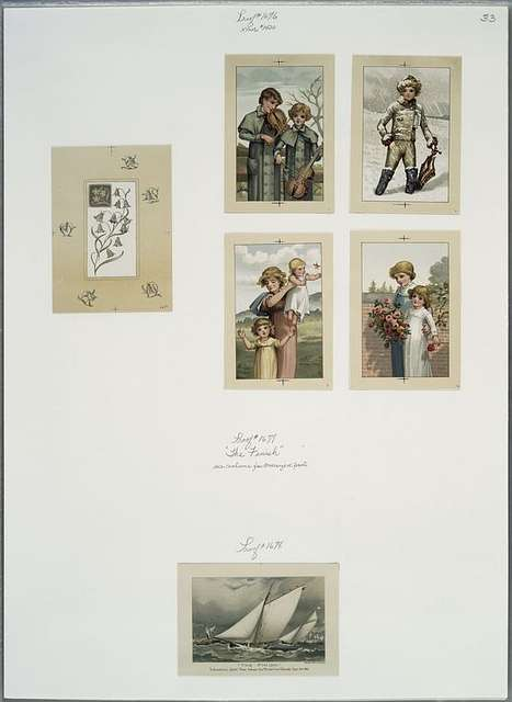 Christmas cards depicting children in snow, playing music, with flowers, and 'The Finish' depicting Yacht race at sea.