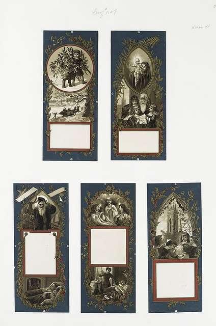 Christmas cards depicting children learning, singing, sleeping ; biblical scenes ; winter scenes.