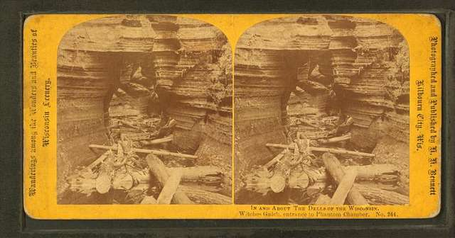 In and about the Dells of Wisconsin. Witches' Gulch, Entrance to Panthom Chamber.