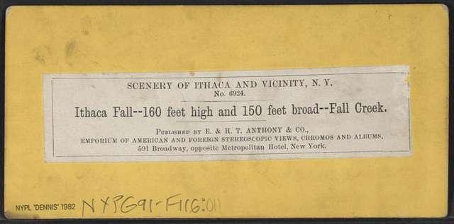 Ithaca Fall, 160 feet high and 150 feet broad, Fall Creek.