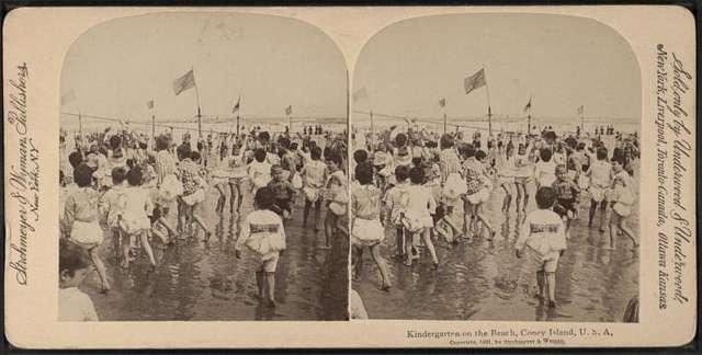 Kindergarten on the beach, Coney Island, U.S.A.