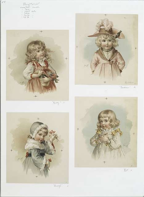 Kitty; Peachblow; Beryl; and Pet. [Christmas cards depicting young girls with cats, birds, flowers, and hats.]