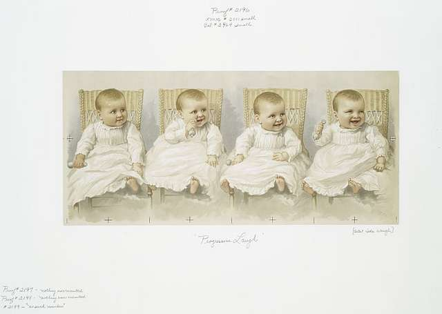 Progressive Laugh [Christmas card and calendar depicting baby with four expressions].