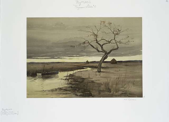 Progressive Studies #2 [print depicting tree and boats on waterfront].