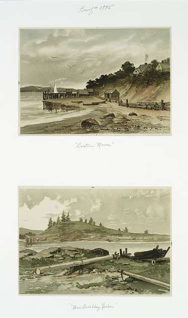 Two prints entitled 'Castine Maine' and 'Near Boothbay Harbor.'
