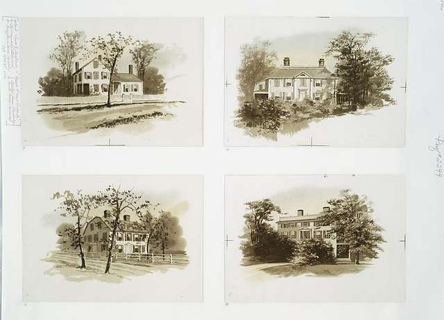Views of New England : 9. The Merrimac (Whittier's house) ; 10. Longfellow's home, Cambridge ; 11. Holme's house, Cambridge ; 12. Lowell House, Cambridge.