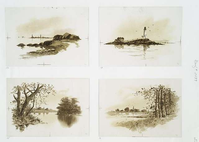 Views of New England [cards depicting landscape views of the ocean, rivers, lighthouses, distant buildings and trees].