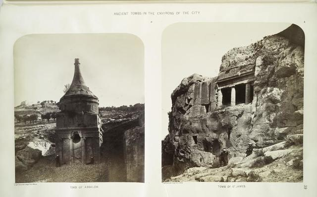 Ancient tombs in the environs of the city : a. tomb of Absalom; b. tomb of St. James