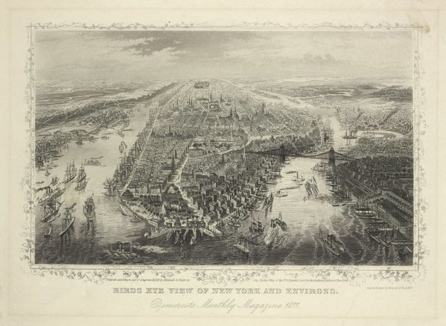 Birds eye view of New York and environs