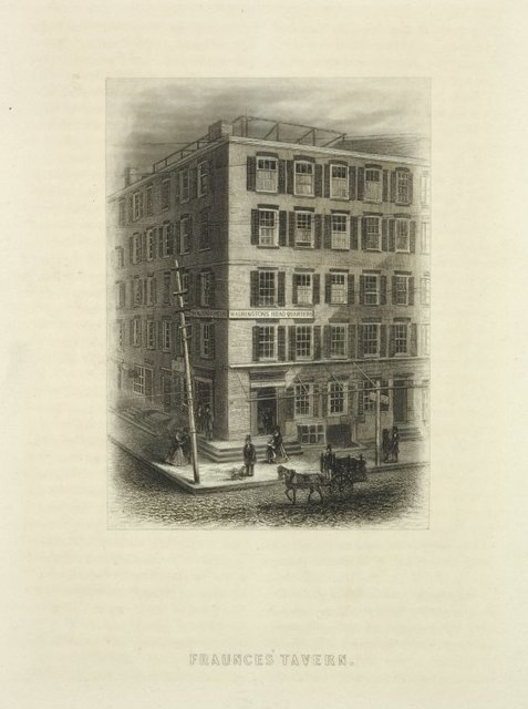Fraunces' Tavern. Sign on the building, on each of the two side: Washington's Headquarters. One-horse, two-wheeled truck in foreground.