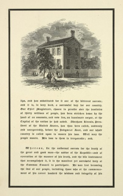 Message from the mayor and resolutions of the common council with picture of Lincoln's home.
