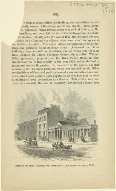 Niblo's Garden, corner Broadway and Prince Street, 1828.