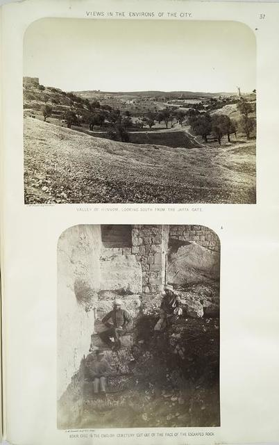 Views in the environs of the city : a. Valley of Hinnom, looking south from the Jaffa Gate; b. stair case in the English Cemetery cut out of the face of the escarped rock