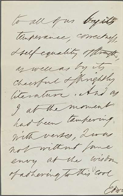 Whipple, E[dwin] P[ercy], ALS to. Oct. 12, [1866]. Previously [1871?].