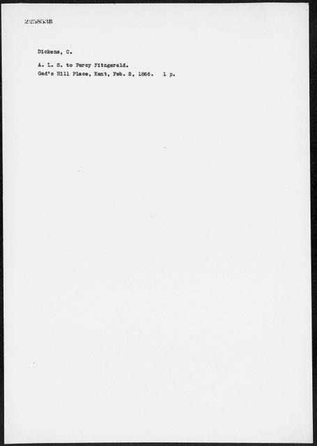 Fitzgerald, Percy. ALS to 1866 Feb. 2