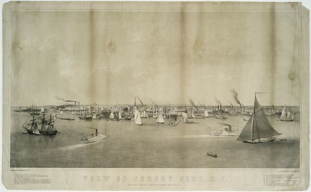 View of Jersey City, N.J. taken from a ship's mast lying directly opposite Montgomery St.