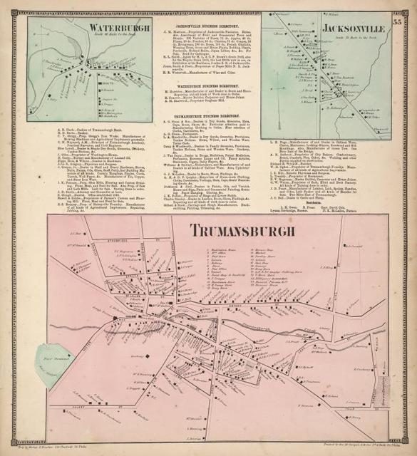 Waterburgh [Village]; Jacksonville Business Directory. ; Waterburgh Business Directory. ; Trumansburgh Business Directory. ; Jacksonville [Village]; Trumansburgh [Village]