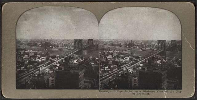 Brooklyn Bridge, icluding a bird's-eye view of the city of Brooklyn.