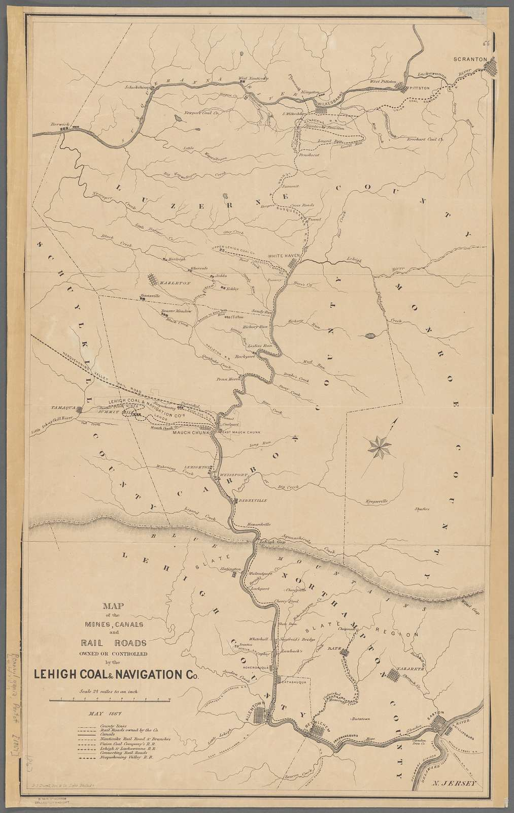 Map of the mines, canals, and rail roads owned or controlled by the Lehigh Coal & Navigation Co. : [Lehigh and Wyoming valleys, Pennsylvania]