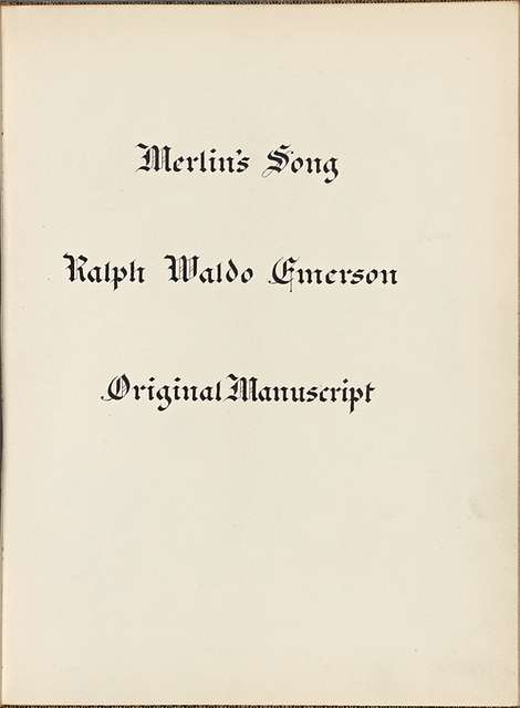 """Merlin's Song."" Holograph poem, unsigned, undated."