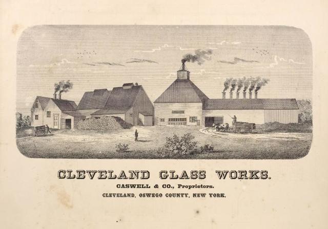 Cleveland Glass Works. Caswell & Co., Proprietors. Cleveland, Oswego County, New York.